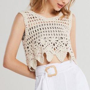 Storets - Pipa Crochet Crop Top - Beige